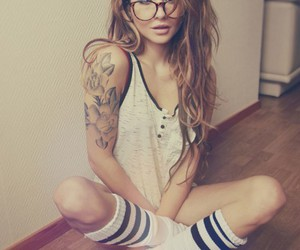 girl, tattoo, and glasses image