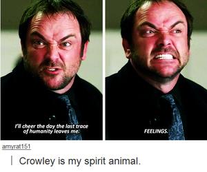 supernatural, crowley, and feelings image