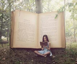 books, forest, and girl image