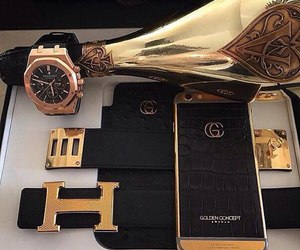 luxury, gold, and iphone image