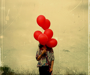 balloons, red, and girl image