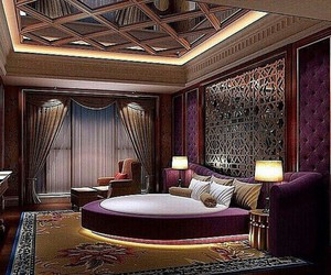 bed, bedroom, and luxurious image