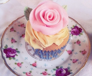 cupcake, floral, and food image