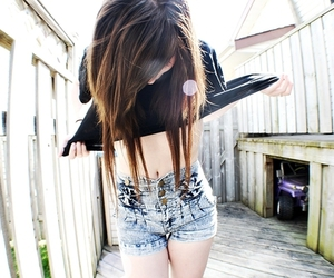 girl, hair, and shorts image