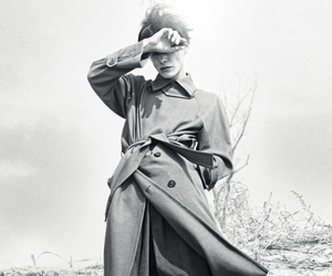 black and white, trench coat, and closed eyes image