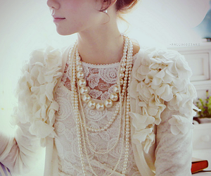 fashion, pearls, and lace image