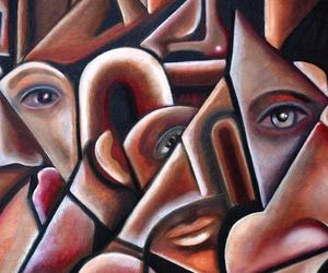 art, cubism, and eyes image