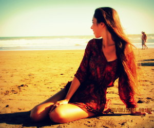 girl, sand, and red image