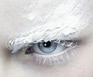 white, blue, and eye image