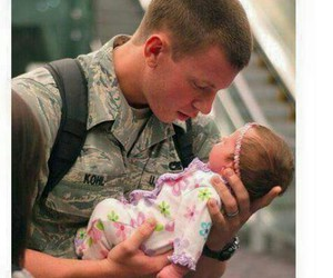 army, dad and daughter, and baby image