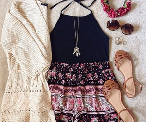 sunglasses, brown sandals, and dream catcher necklaces image