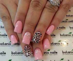 nails, pink, and leopard image