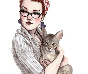 illustration, cat, and drawing image