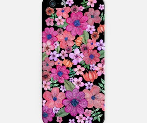 black, case, and flowers image