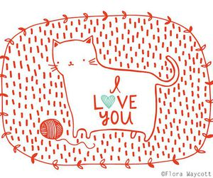 cat, I Love You, and illustration image