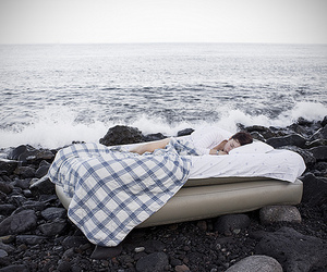bed, sea, and ocean image
