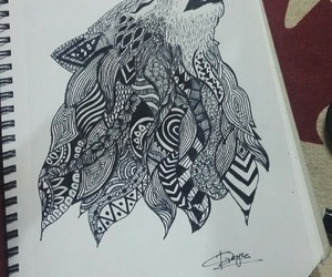 black and white, doodle, and optic illusion image
