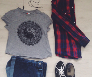 choker, flannel, and clothes image