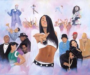 aaliyah, bob marley, and tupac image