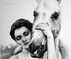 girl, horse, and drawing image