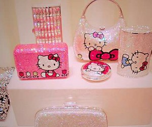 hello kitty, pink, and glitter image