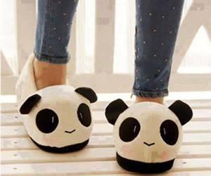 panda, cute, and slippers image