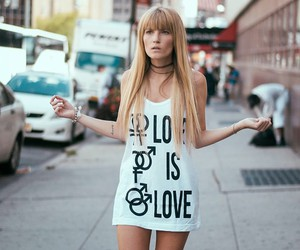 blonde, girl, and love image