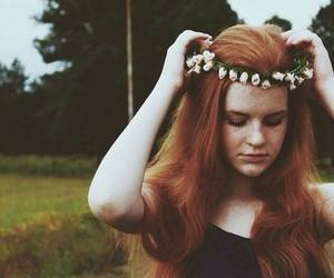 girl, flowers, and freckles image
