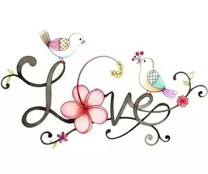 love, bird, and flowers image