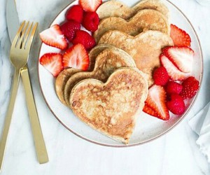 food, strawberry, and pancakes image