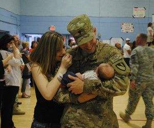 army, baby, and dad image