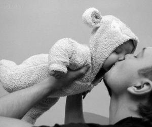 baby, kiss, and dad image