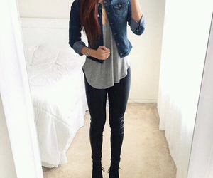 jeans, top, and jeans jacket image