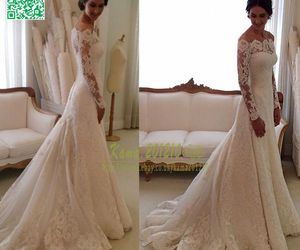 lace, wedding, and bride image