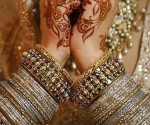 henna, bride, and indian image