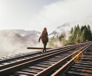 girl, nature, and train image