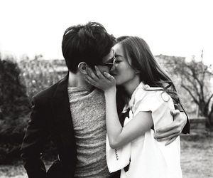 black and white, couple, and in love image