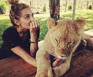 beauty, girl, and lion image