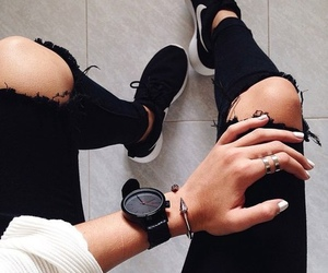 black and white, style, and watch image