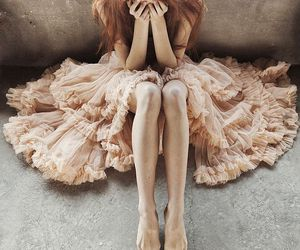 girl, dress, and sad image
