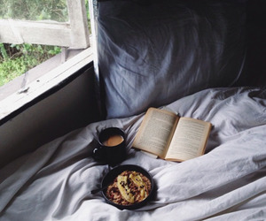 bed, book, and food image