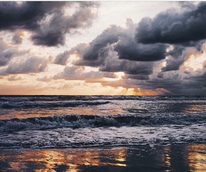 sea, beach, and clouds image