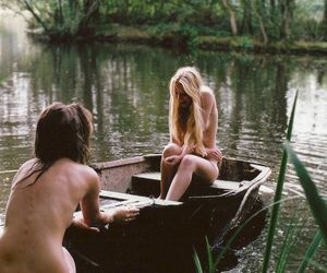 girls, lake, and naked image