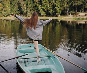 girl, boat, and lake image