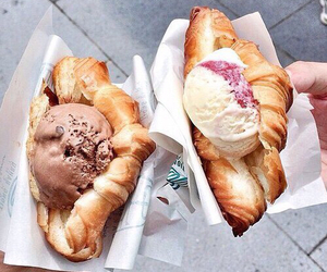 food, ice cream, and croissant image