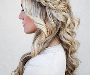 blonde curled hair, side braids, and white long sleeve image