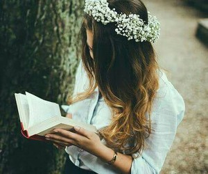 books, reading, and brown hair image