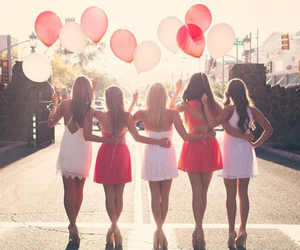 friends, dress, and balloons image