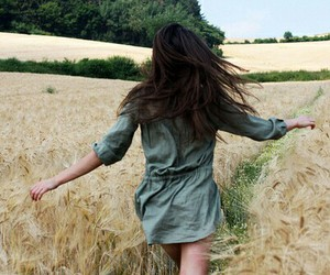girl, hair, and field image