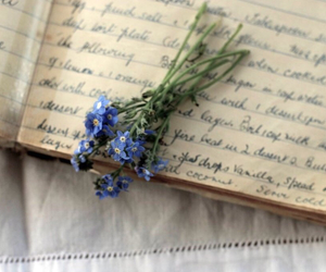 flowers, vintage, and blue image